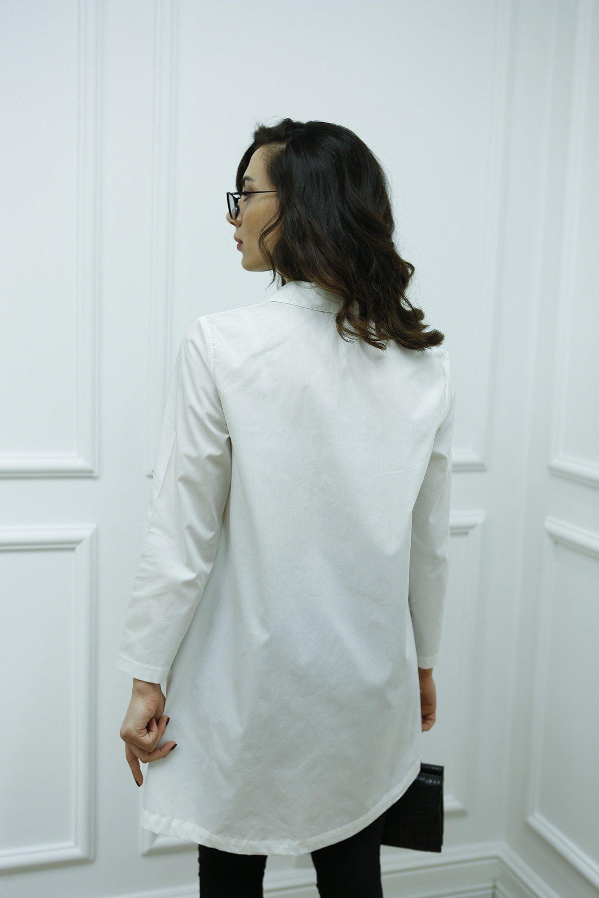 3021 Bir Tarafı Kısa Fermuarlı Gömlek