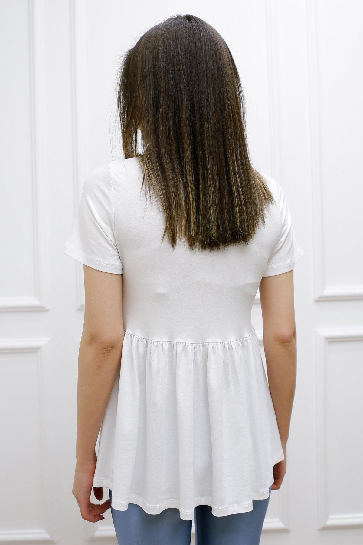 Eteği Fırfırlı Tişört