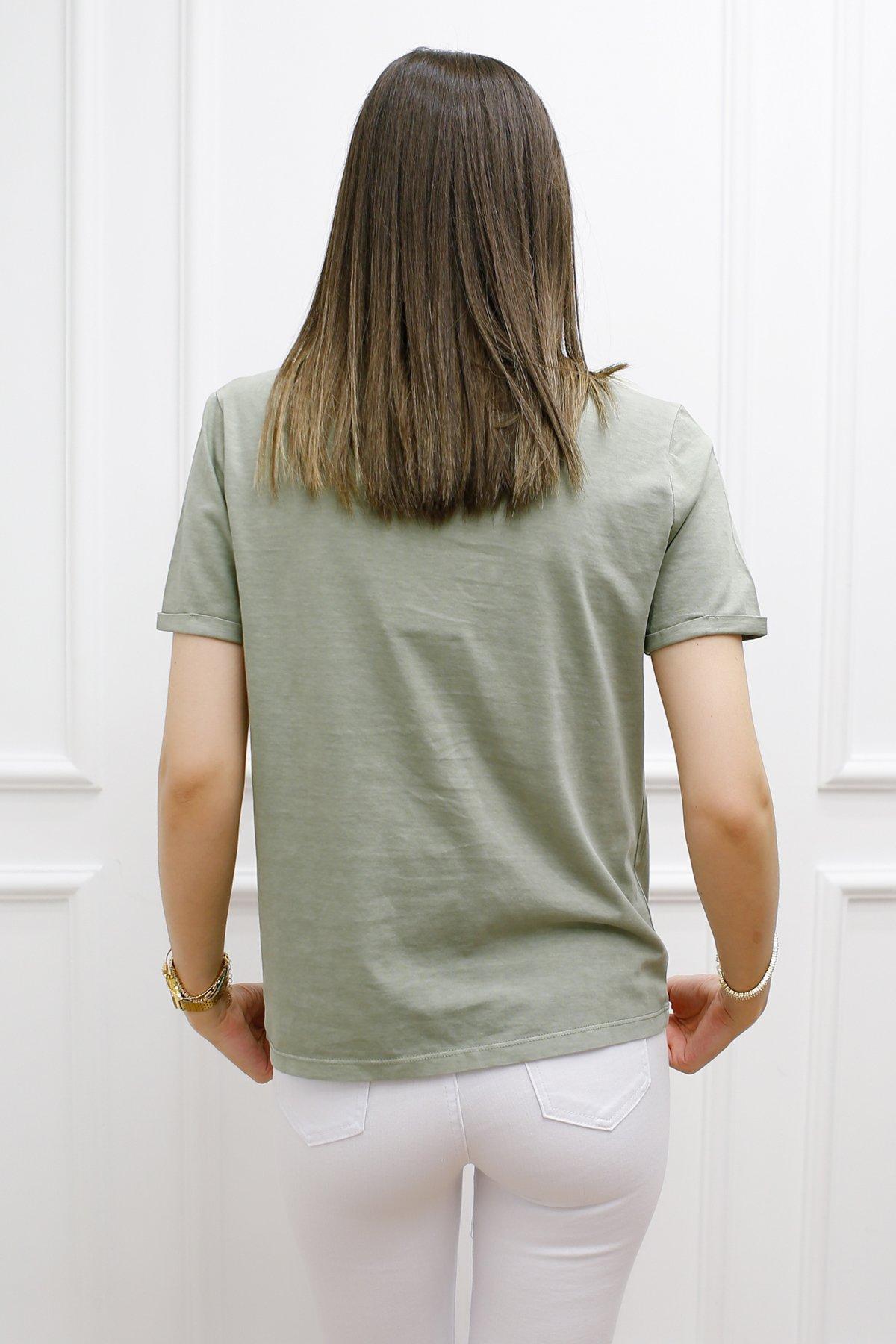 Kol Duble Kıvırmalı Basic Tişört