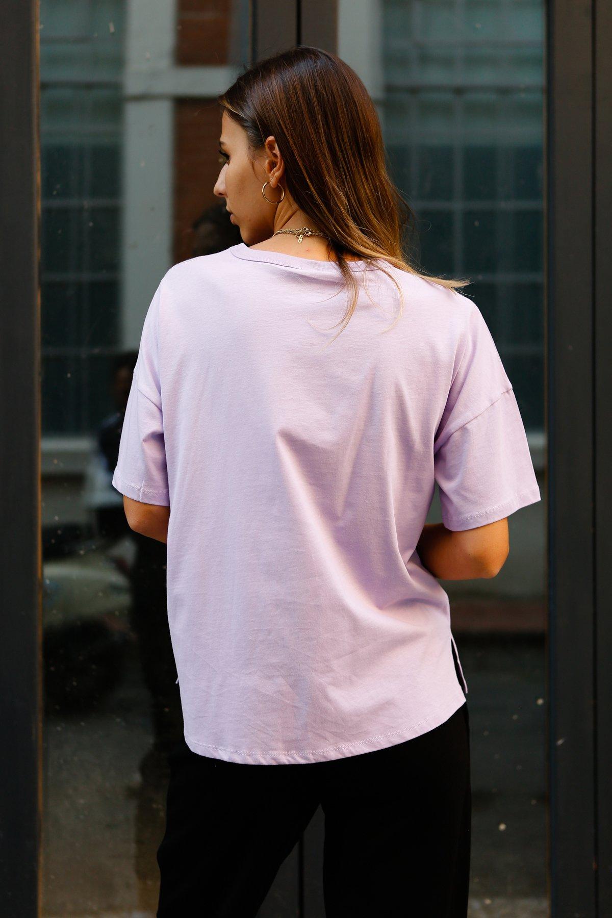 Önü Kısa Arkası Uzun Kısa Kol Tişört