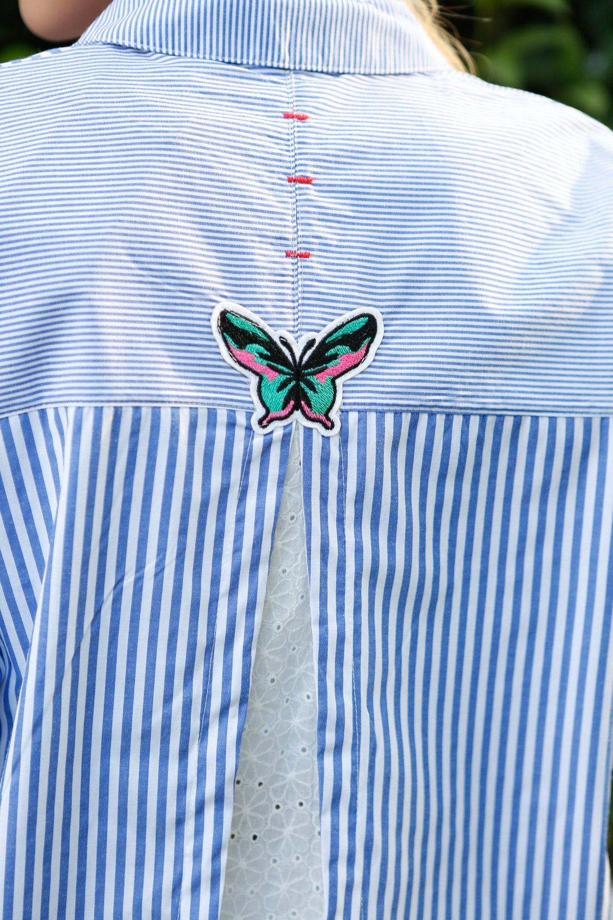 Çizgili Cebi Dantel İşlemeli Gömlek