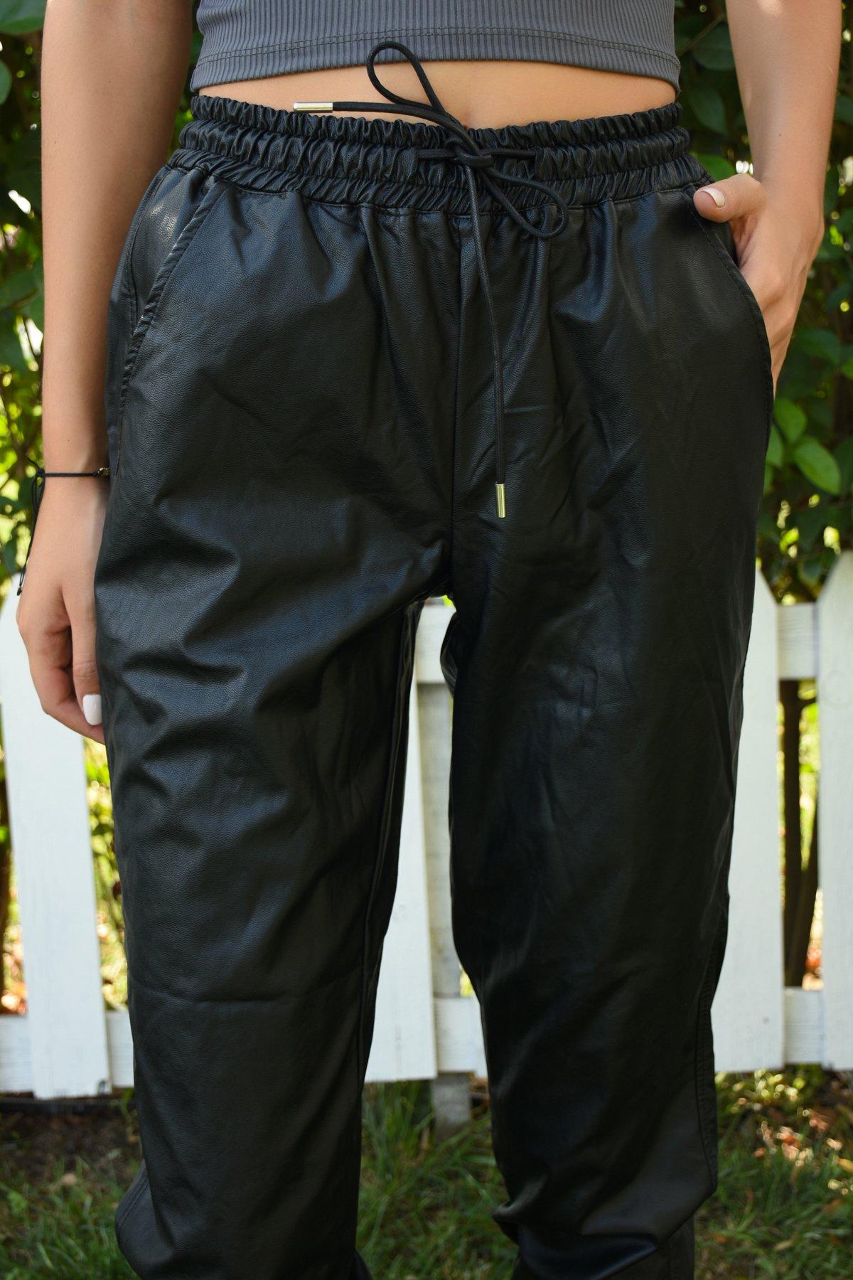 Altı Lastikli Deri Pantolon