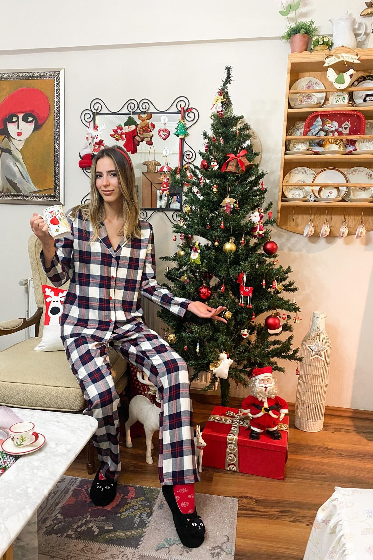 Ekoseli Pijama Takım