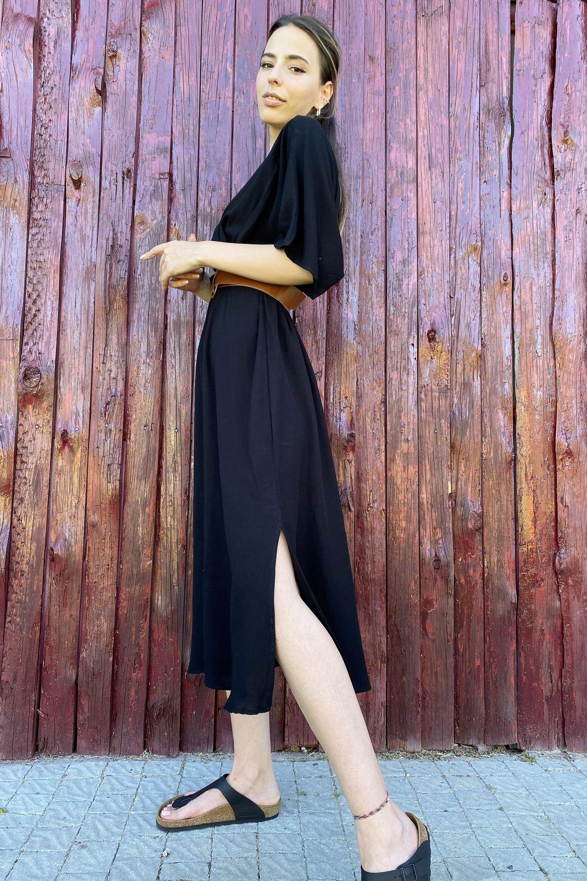 Kruvaze Kemerli Elbise