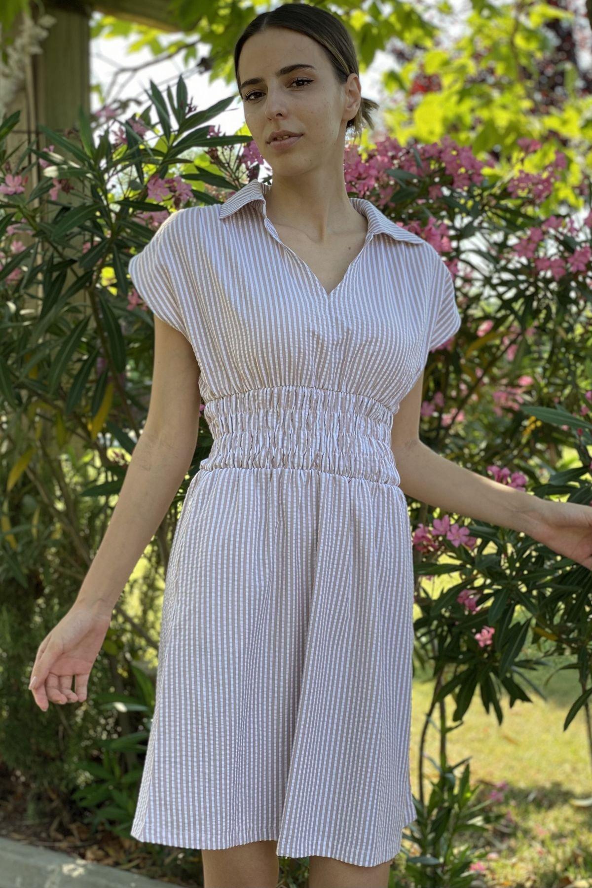 Beli Lastikli V Yaka Elbise