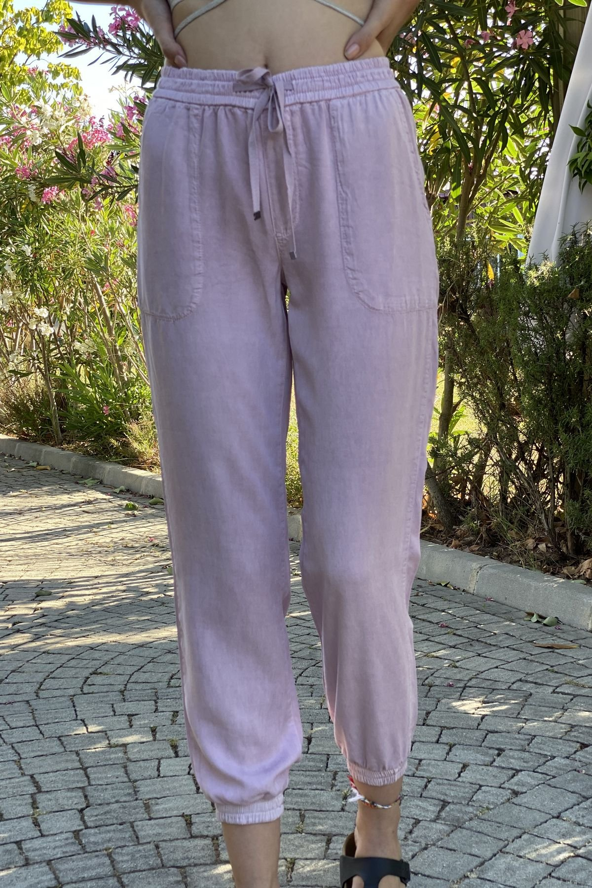 Paçası Lastikli Cepli Pantolon